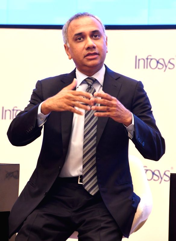 Infosys CEO and MD Salil Parekh during a press conference in Bengaluru, on April 13, 2018.