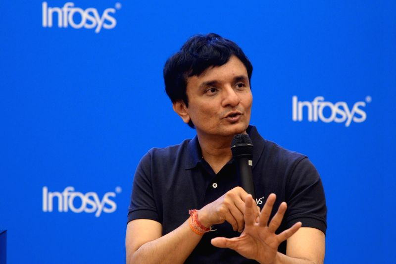 Infosys Chief Financial Officer (CFO) MD Ranganath during a press conference organised to announce results of the first quarter of fiscal 2018-19, in Bengaluru,on July 13, 2018. The ...(Image Source: IANS)