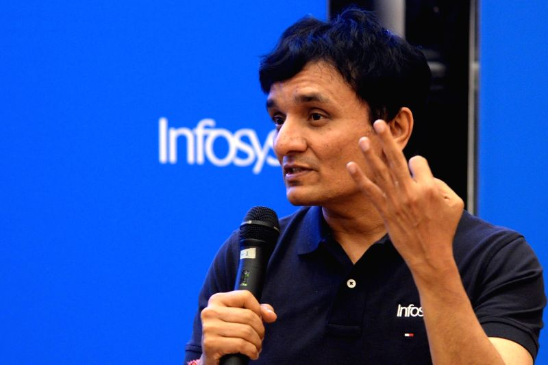Infosys Chief Financial Officer (CFO) MD Ranganath during a press conference organised to announce results of the first quarter of fiscal 2018-19, in Bengaluru,on July 13, 2018. The ...