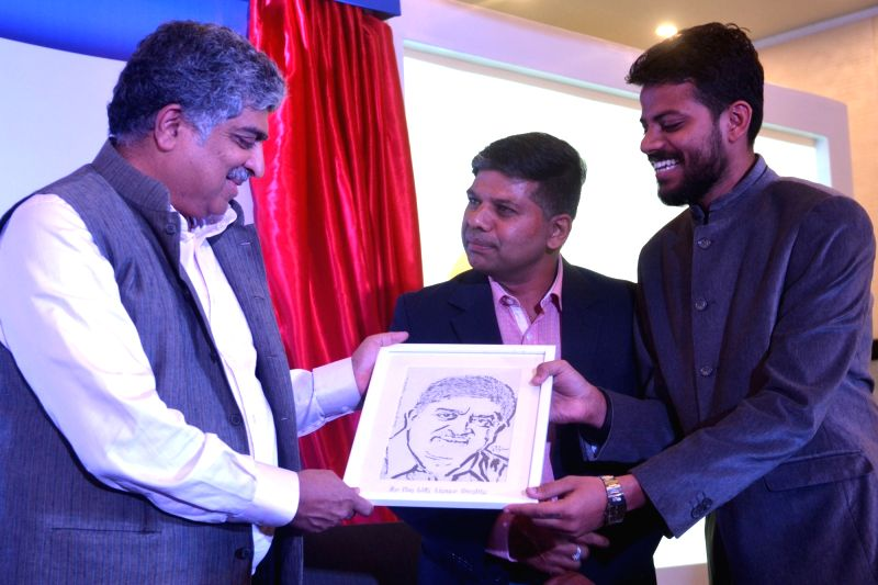 "Infosys co-founder and former chairman UIDAI Nandan Nilekani during the launch of ""eSign"" service in Bengaluru, on Aug 3, 2016."