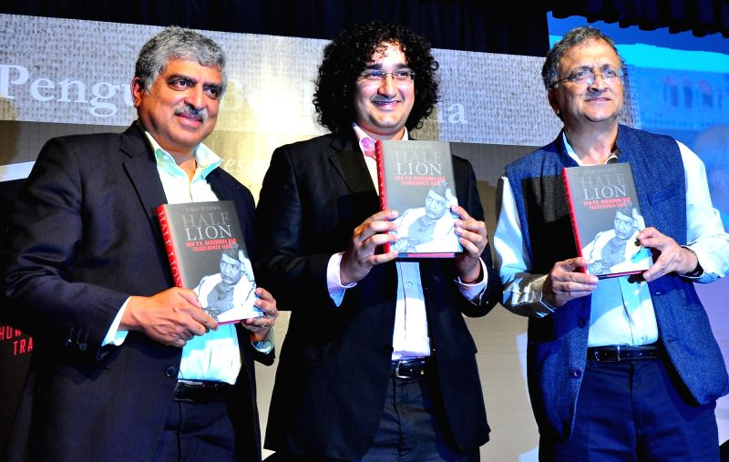 "Infosys cofounder Nandan Nilekani and  Ramachandra Guha at the launch of Vinay Sitapati's book ""Half Lion"" in Bengaluru, on Aug 10, 2016."