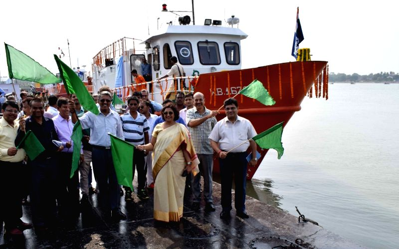 Inland Waterways Authority of India (IWAI) Chairperson Nutan Guha Biswas flags off two Survey cum Inspection Vessels of IWAI – SL Ganga and SL Jhanvi at Garden Reach in Kolkata on June 1, ...