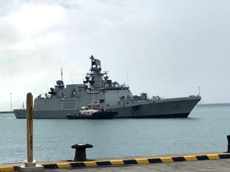INS Sahyadri entering Changi Naval Base at Singapore