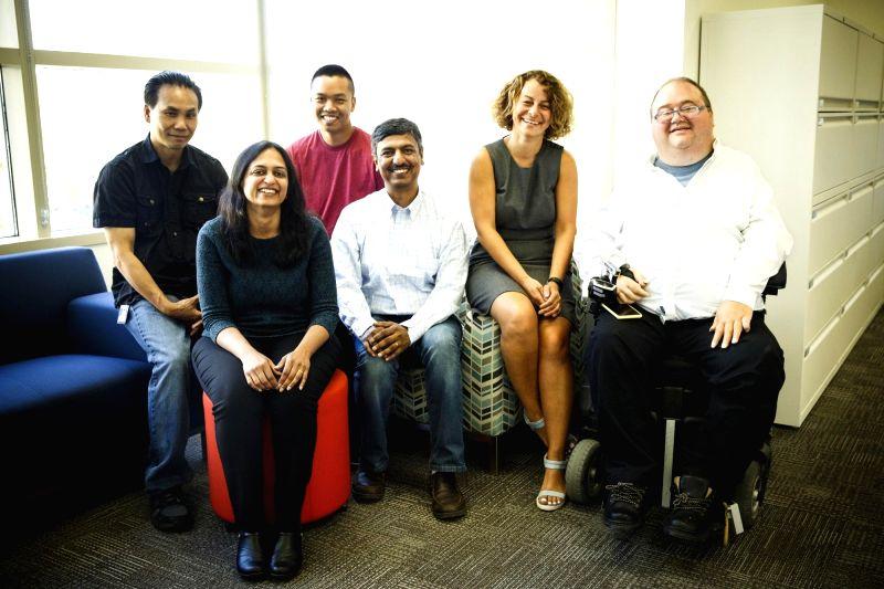 Intel's Anticipatory Computing Lab team that developed Assistive Context-Aware Toolkit includes (from left) Alex Nguyen, Sangita Sharma, Max Pinaroc, Sai Prasad, Lama Nachman and Pete Denman. (Photo credit: Lama Nachman)