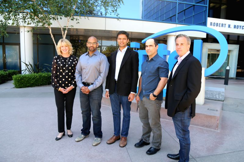 Intel?s Diane Bryant with Nervana?s co-founders Naveen Rao, Arjun Bansal, Amir Khosrowshaki and Intel vice president Jason Waxman. (Photo: Intel) - Naveen Rao