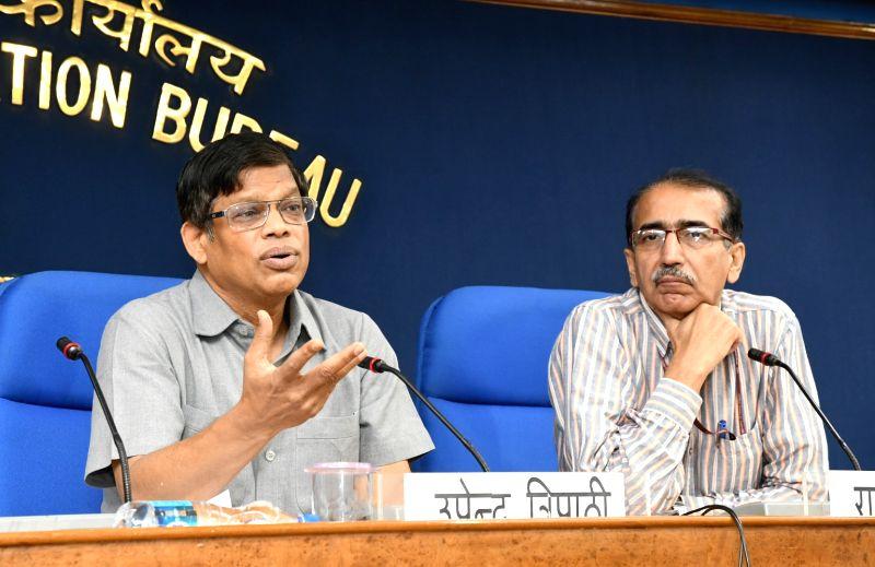 Interim DG of International Solar Alliance (ISA) Upendra Tripathy briefs the press regarding Initiatives/Schemes/Activities undertaken by the ISA in New Delhi on May 18, 2017.