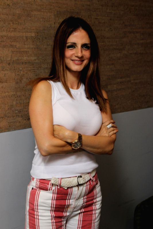 Interior designer Sussanne Khan at Facebook office  for actress Sonali Bendre book club in Mumbai on Aug 8, 2018. - Sonali Bendre and Sussanne Khan