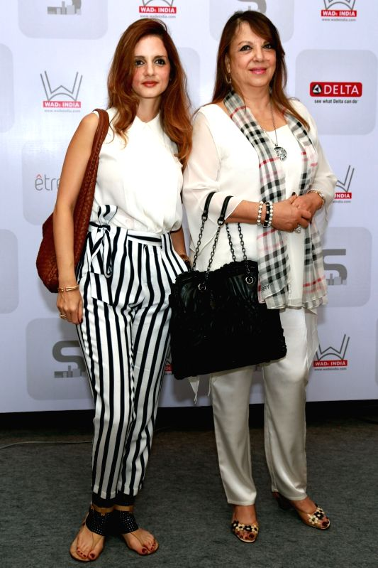 "Interior designer Sussanne Khan with her mother Zarine Khan during a conference to celebrate the work of women professional of the architect industry ""Women Architects and Designers ... - Sussanne Khan and Zarine Khan"