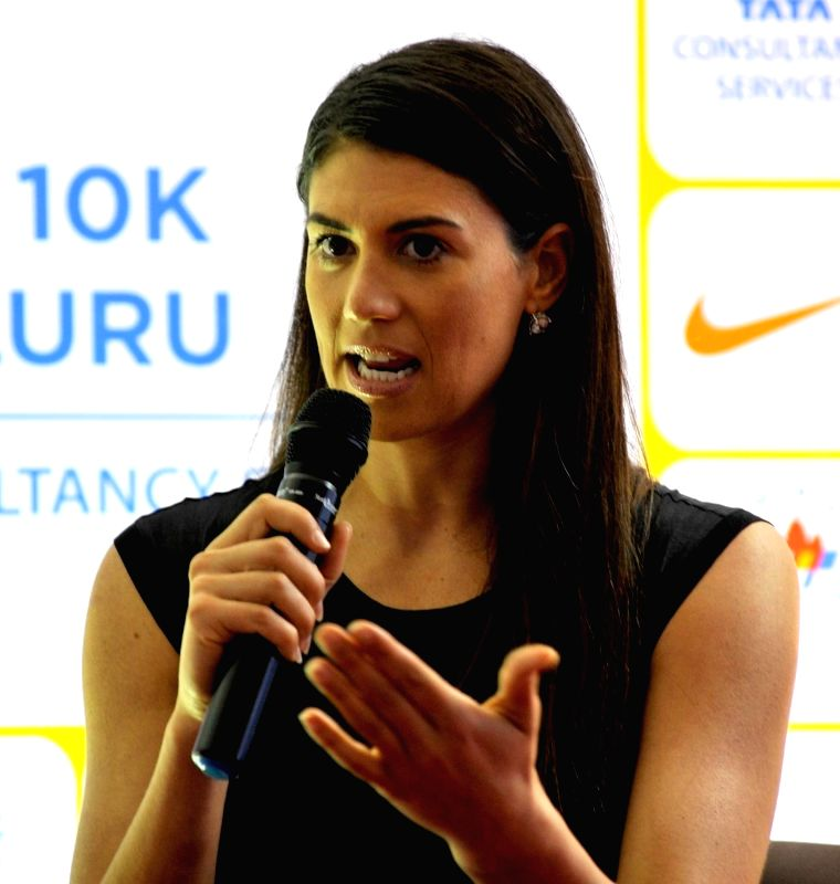 International Ambassador for TCS 10k Marathon, Triple Olympic Gold Medalist in swimming, Stephanie Rice during a press conference regarding TCS 10k Marathon, in Bengaluru on May 19, 2017.