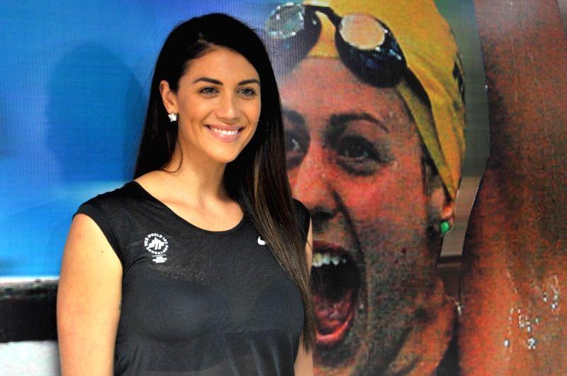 International Ambassador for TCS 10k Marathon, Triple Olympic Gold Medalist in swimming, Stephanie Rice during a press conference regarding TCS 10k Marathon, in Bengaluru on May 19, 2017.