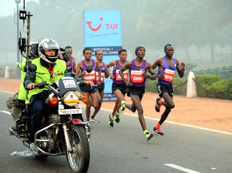 International athletes participate in Airtel Delhi Half Marathon 2015 at India Gate in New Delhi, on Nov 29, 2015.