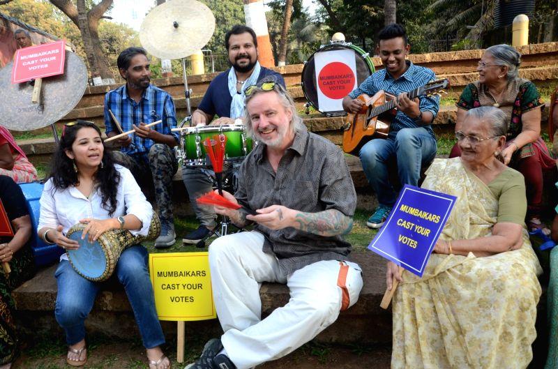 International drummers Pete Lockets, Gino Banks, Kurt Petrs, Swarupa Ananth, Sonu Sangameswaran and guitarist Rhythm Shaw rehearse ahead of Mumbai Drum Day 2017 concert at Shivaji Park in ...