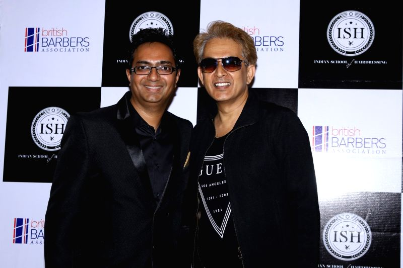 International hair stylists Javed Habib, Aalim Hakim during the India's first hair styling event dedicated to Men's grooming in Mumbai on April 17, 2017.