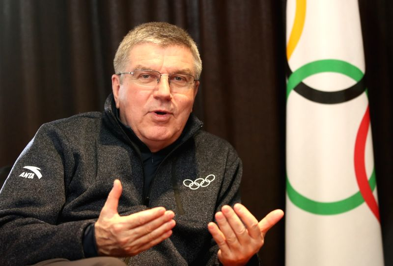 International Olympic Committee (IOC) President Thomas Bach speaks during an interview with Yonhap News Agency at a hotel in the alpine town of PyeongChang, the main host of the Feb. ...