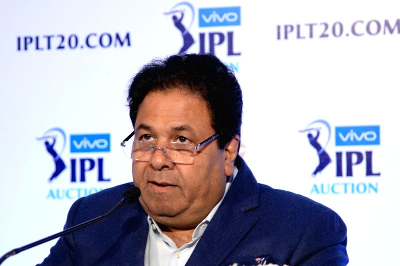 IPL chairman Rajeev Shukla addresses during Indian Premier League (IPL) Players' Auction in Bengaluru on Jan 28, 2018.