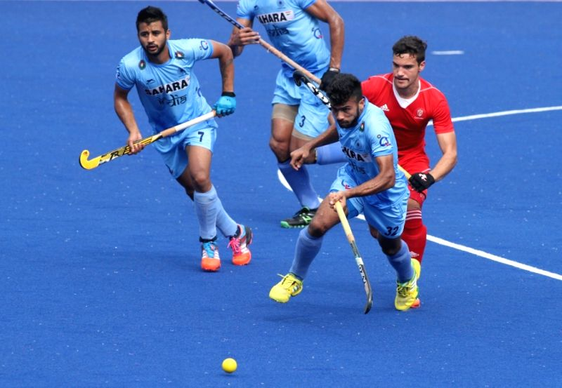 Players in action during the Sultan Azlan Shah Cup 2015 match between India and Canada in Ipoh, Malaysia, on April 9, 2015.