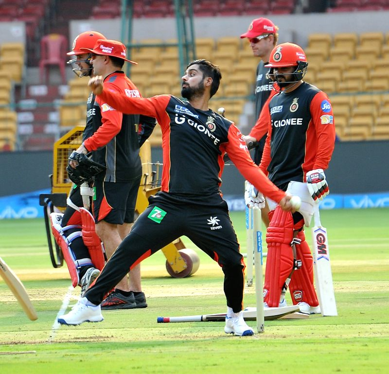Iqbal Abdulla of Royal Challengers Bangalore during a practice session at Chinnaswamy Stadium in Bengaluru on April 26, 2017.