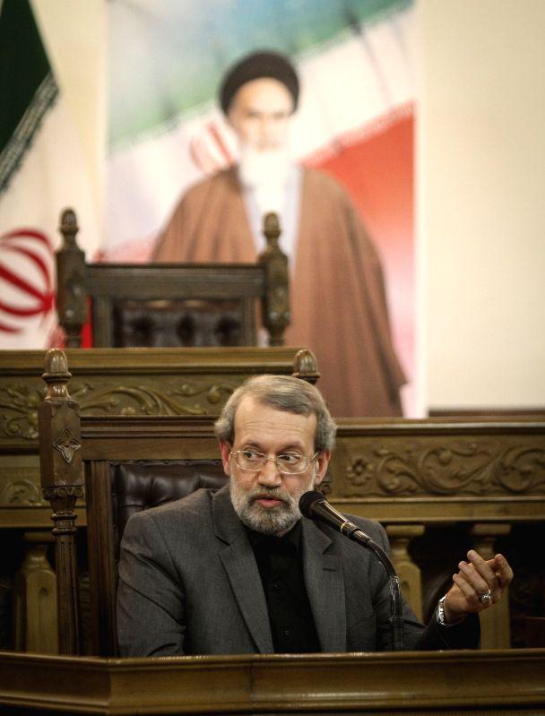 Iran's Majlis (parliament) Speaker Ali Larijani speaks during a press conference in Tehran, capital of Iran, on Dec 1, 2015. - Ali Larijani
