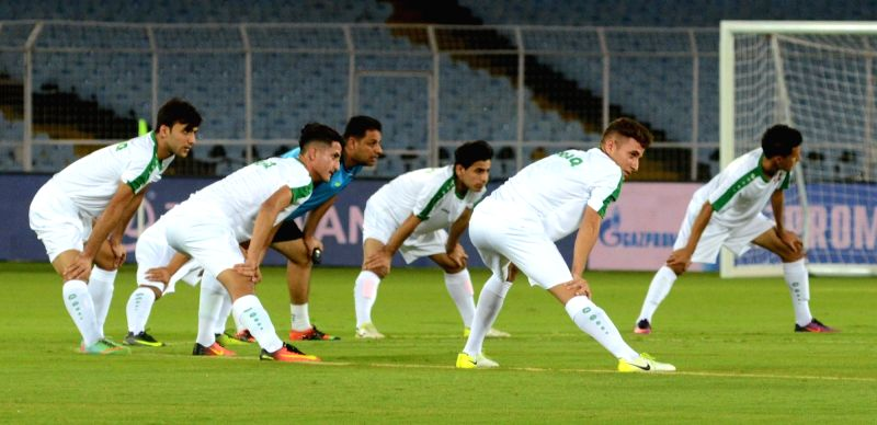 Iraqi players in action during a practice session ahead of FIFA U17 World Cup in Kolkata on Oct 7, 2017.