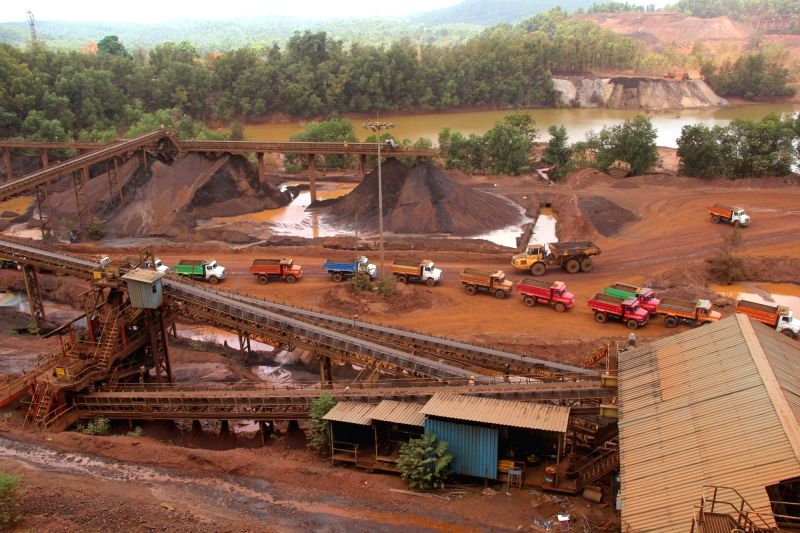 Iron ore mining resume in Goa after remaining banned for three years at Kodli near Panaji on May 28, 2016. Mining of iron ore and bauxite, a multi-billion dollar industry in Goa and one of ...