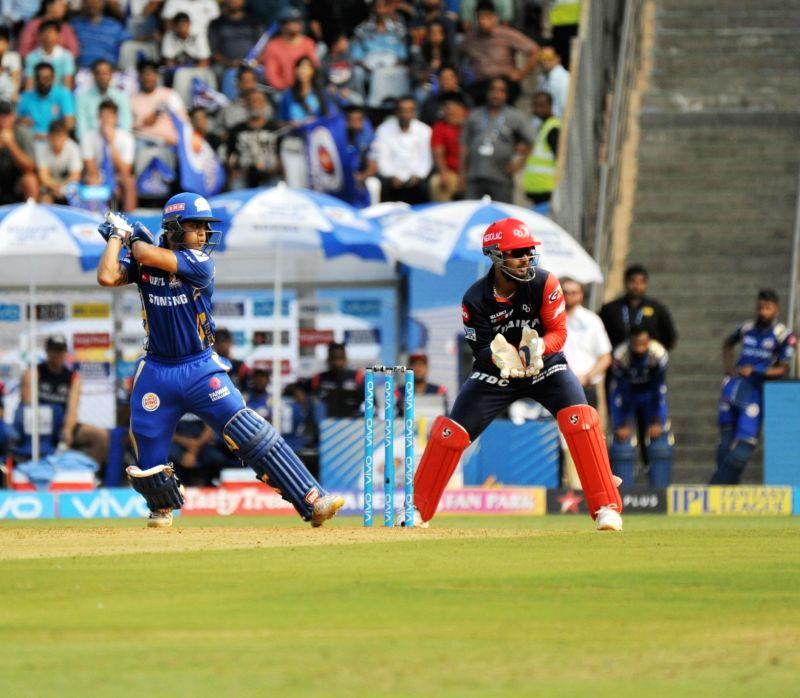 Ishan Kishan of Mumbai Indians in action during an IPL 2018 match between Delhi Daredevils and Mumbai Indians at Wankhede Stadium in Mumbai on April 14, 2018.