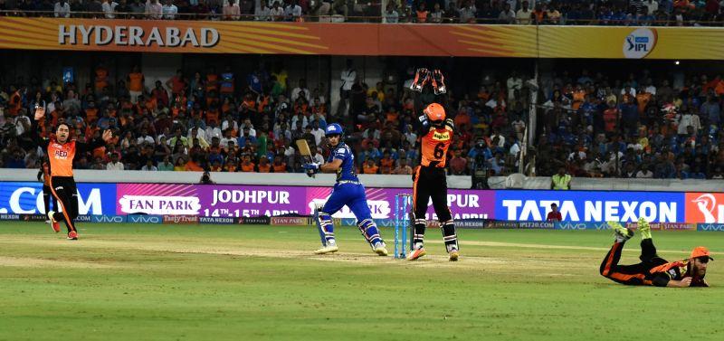 Ishan Kishan of Mumbai Indians plays a shot during an IPL 2018 match between Sunrisers Hyderabad and Mumbai Indians at Rajiv Gandhi International Cricket Stadium in Hyderabad on April 12, ...