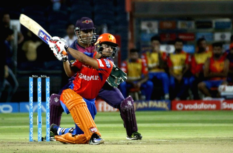 Ishan Kishan plays a shot during an IPL 2017 match between Rising Pune Supergiant and Gujarat Lions at Maharashtra Cricket Association Stadium in Pune on May 1, 2017.