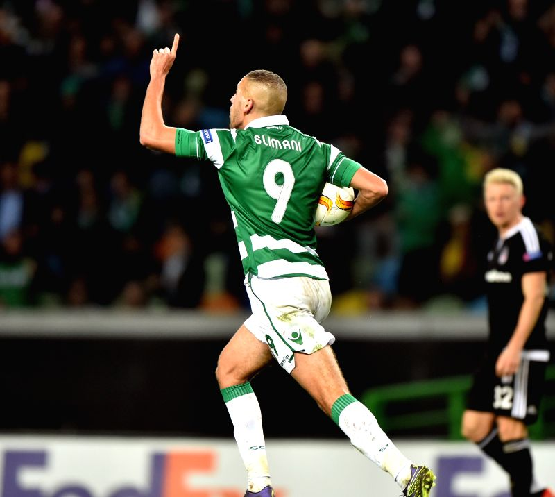 Islam Slimani of Sporting celebrates after scoring during the UEFA Europa League group H match between Sporting Club de Portugal and Besiktas JK in Lisbon, Portugal, Dec. 10, 2015. Sporting ...