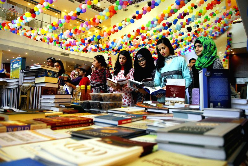 ISLAMABAD, April 24, 2017 - Pakistani women visit a stall on the last day of the 8th National Book Fair in Islamabad, capital of Pakistan, on April 24, 2017. The county's three-day National Book Fair ...