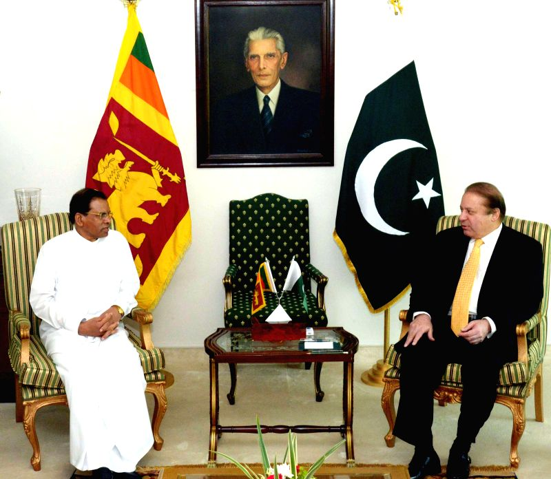 Photo released by Press information Department(PID) on April 6, 2015 shows Pakistani Prime Minister Nawaz Sharif (R) meets with visiting President of Sri Lanka, ... - Nawaz Sharif