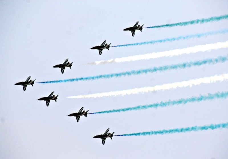 ISLAMABAD, Aug. 12, 2017 - Pakistani jets fly in formation during a rehearsal ahead of Pakistan's Independence Day in Islamabad, capital of Pakistan, Aug. 12, 2017. Pakistan will celebrate ...