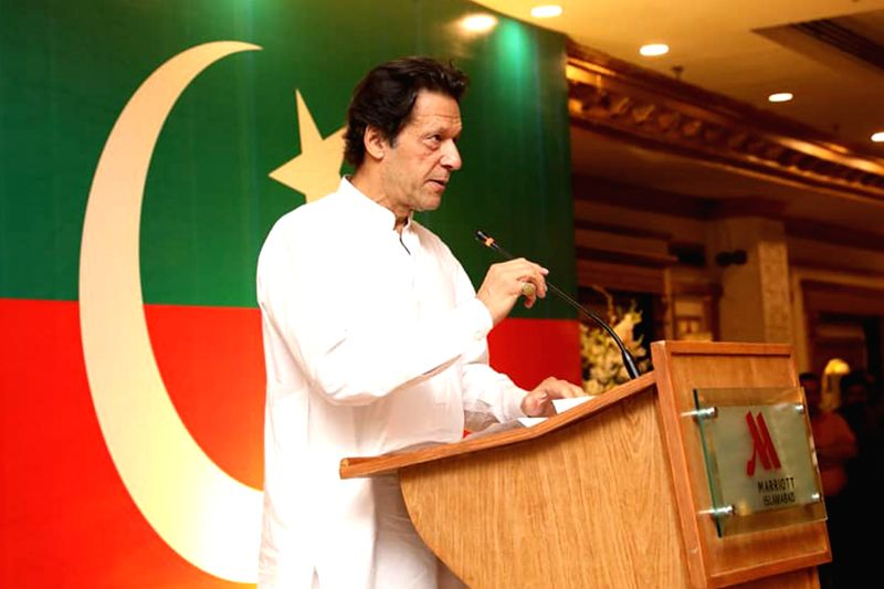 ISLAMABAD, Aug. 6, 2018 - Imran Khan, chairman of Pakistan Tehreek-e-Insaf (PTI) party, speaks during an event in Islamabad, capital of Pakistan, on Aug. 6, 2018. Pakistan Tehreek-e-Insaf (PTI), or ... - Imran Khan