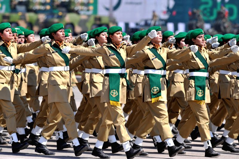 A Pakistani camel-mounted military band performs during the Pakistan Day military parade in Islamabad, capital of Pakistan on March 23, 2015. Pakistan on Monday ...