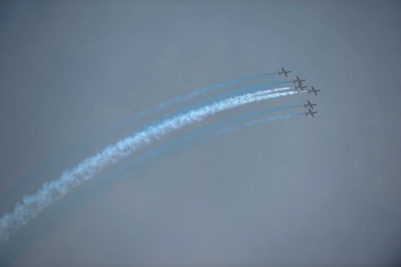 Pakistani jets perform during the Pakistan Day military parade in Islamabad, Pakistan, March 23, 2015. Pakistan on Monday held a military parade in the capital ...
