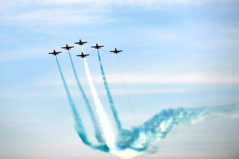Pakistani jets perform during the Pakistan Day military parade in Islamabad, capital of Pakistan on March 23, 2015. Pakistan on Monday held a military parade in ...