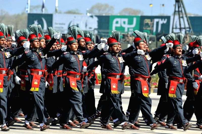 Pakistani troops march during the Pakistan Day military parade in Islamabad, Pakistan, March 23, 2015. Pakistan on Monday held a military parade in the capital ...