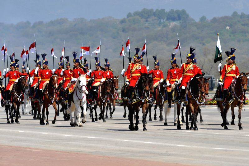 Pakistani troops march during the Pakistan Day military parade in Islamabad, capital of Pakistan on March 23, 2015. Pakistan on Monday held a military parade in ...