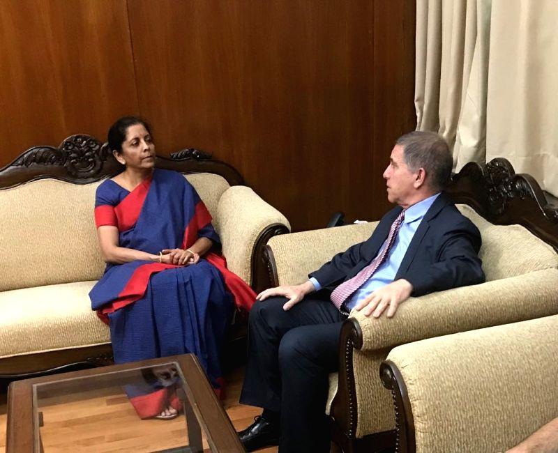 Israel's Ambassador to India and Sri Lanka Daniel Carmon calls on Defence Minister Nirmala Sitharaman, in New Delhi on July 25, 2018. - Nirmala Sitharaman