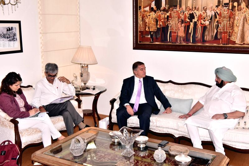 Israel's Ambassador to India Daniel Carmon calls on Punjab Chief Minister Captain Amarinder Singh in Chandigarh on June 13, 2017. - Captain Amarinder Singh