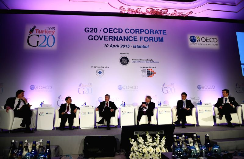 Delegates attend the G20/OECD Corporate Governance Forum in Istanbul, Turkey, April 10, 2015. Over 200 delegates from government sectors, corporates, and industry ...