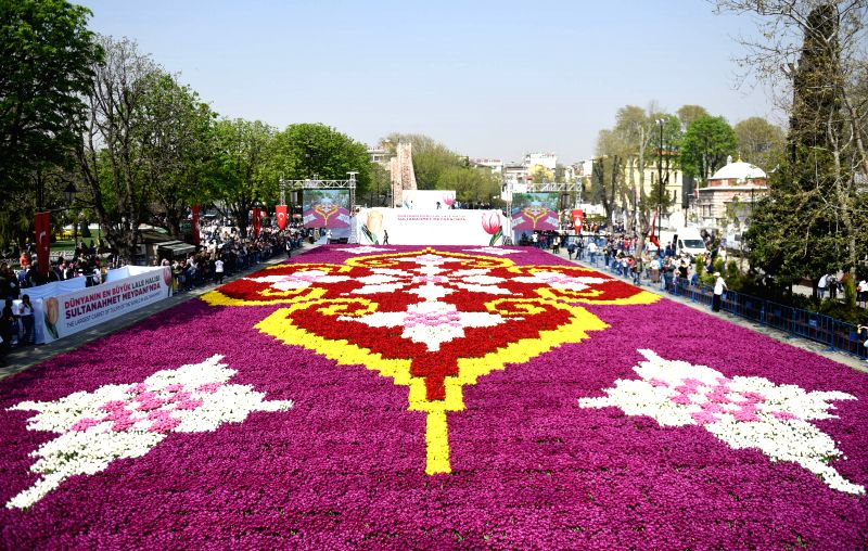 ISTANBUL, April 12, 2018 - Photo taken on April 12, 2018 shows the tulip carpet at Sultanahmet Square in Istanbul, Turkey. Some 30 million tulips are giving Istanbul a big facelift, promising a ...