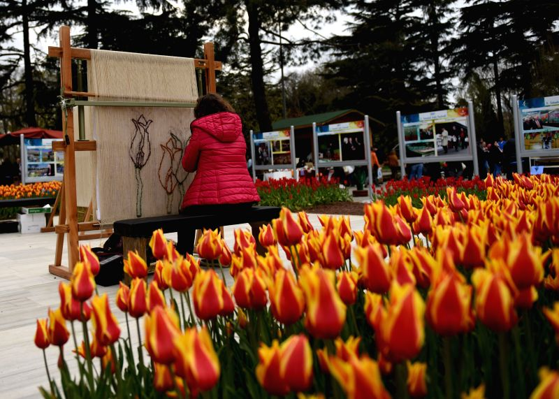 An artist uses ropes to make tulip pattern at Emirgan Park in Istanbul, Turkey, April 14, 2015. The annual Istanbul International Tulip Festival comes usually in ...