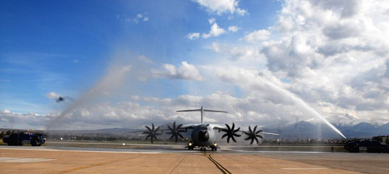 An A400M transport aircraft lands at the Erkilte Air Force Transport Base in Kayseri, Turkey, on  April 16, 2014. A400M transport aircraft landed on Kayseri Air ..