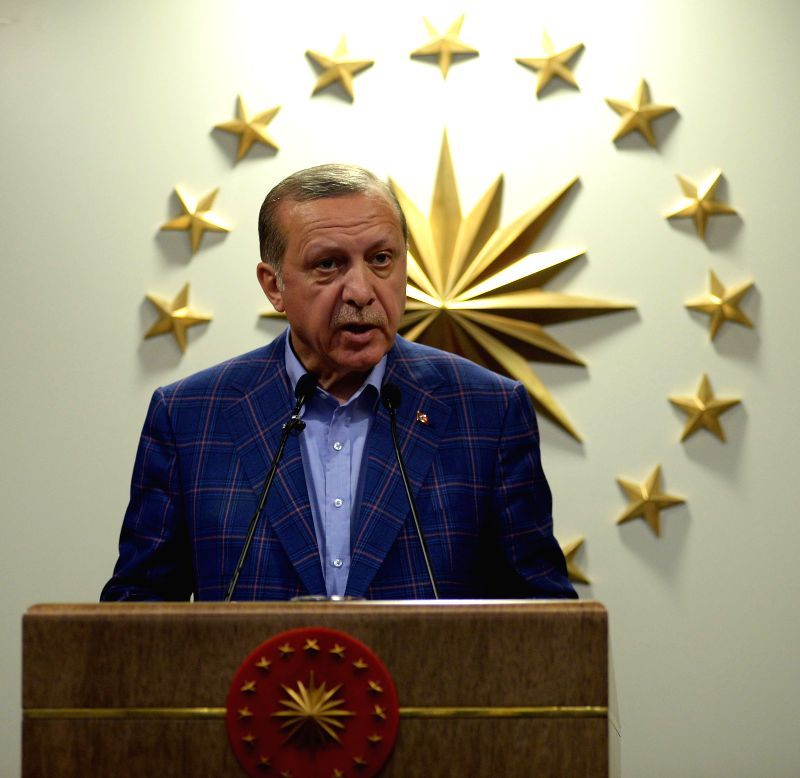 ISTANBUL, April 16, 2017 - Turkish President Recep Tayyip Erdogan makes statements in Istanbul, Turkey, on April 16, 2017. Turkish President Recep Tayyip Erdogan declared on Sunday night that the ...