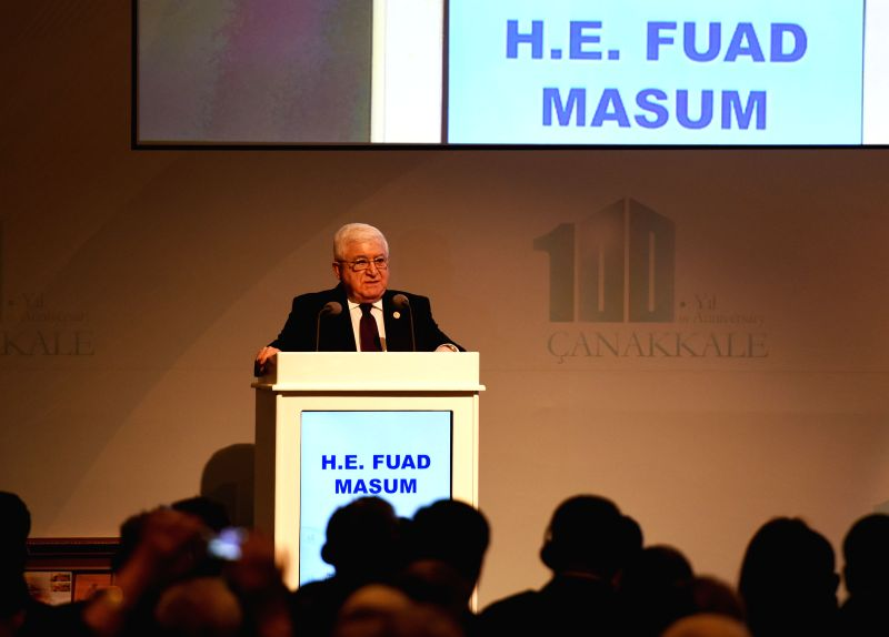 Iraqi President Fuad Masum addresses the Peace Summit and Commemoration Ceremonies of the 100th Anniversary of Canakkale Land and Sea Battles in Istanbul, Turkey, ...