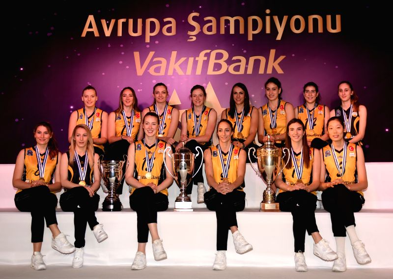 ISTANBUL, April 26, 2017 - Vakifbank players pose at a press conference in Istanbul, Turkey, on April 26, 2017.