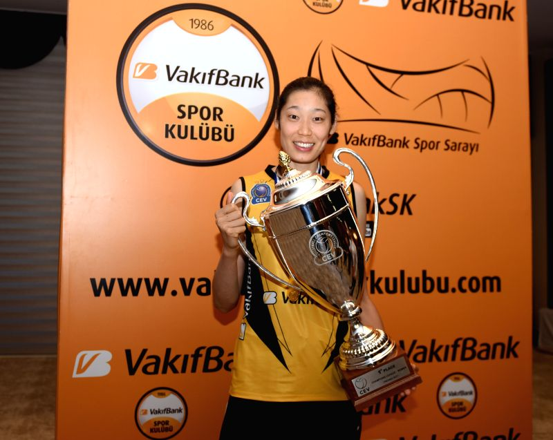 ISTANBUL, April 26, 2017 - Vakifbank's Zhu Ting holds the CEV Champions League trophy at a press conference in Istanbul, Turkey, on April 26, 2017.