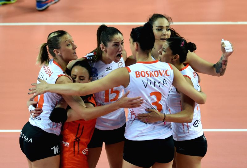 ISTANBUL, April 30, 2017 - Eczacibasi players celebrate after scoring during the third-place-final between Vakifbank and Eczacibasi at the 2016-2017 Turkish Women Volleyball League Playoff match in ...