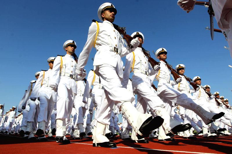 Students of the Turkish Naval Academy take part in a parade during the graduation ceremony in Istanbul, Turkey, on Aug. 31, 2014. The 241st command graduation ... - Ahmet Davutoglu