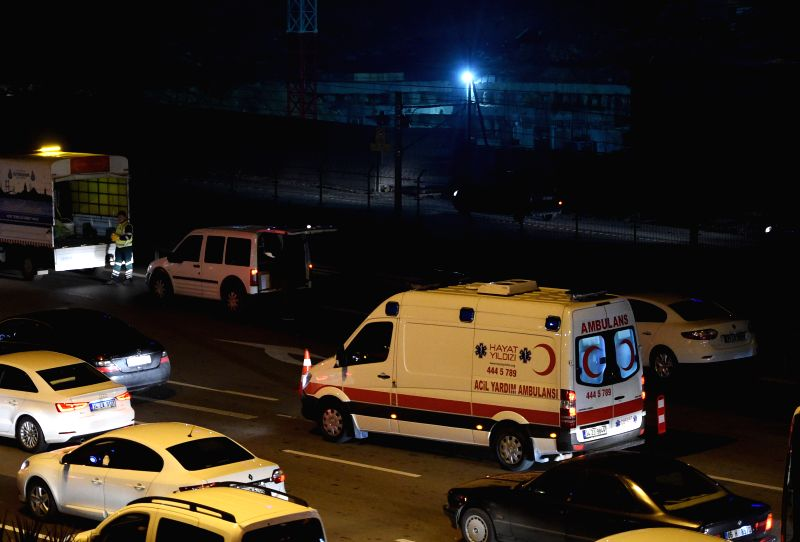 An ambulance is seen near a metro station in Bayrampasa district of Istanbul, Turkey, on Dec. 1, 2015. One person was killed and another wounded on Tuesday in an ...